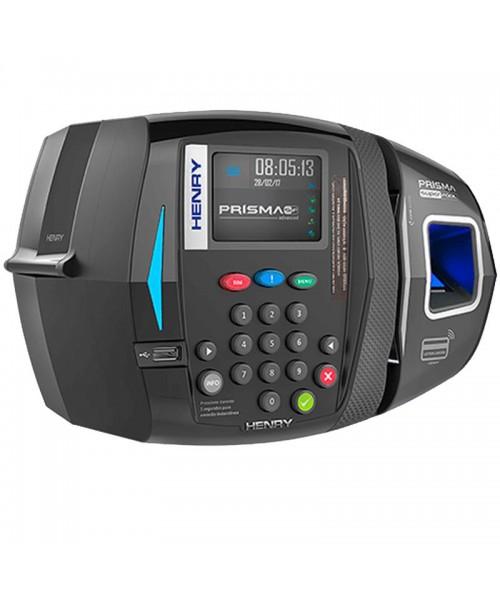 Relógio Ponto Henry Prisma R1 Bio Azul, Barras e Mifare