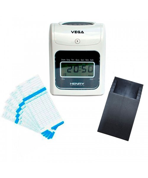 Relógio Ponto Vega com chapeira de 5 lug. e 100 cartões