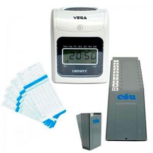 Relógio Ponto Vega com chapeira de 10 Lug. e 100 cartões