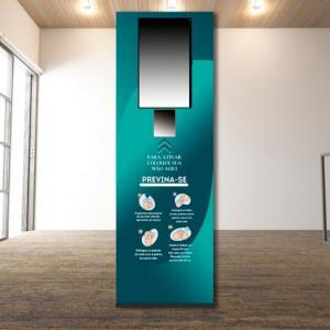 """Totem Dispenser Automático de Álcool Gel 1,80M com Monitor 32"""""""